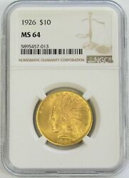 1926 Gold 10 Indian Head Coin Ngc Mint State 64