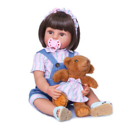 22 Reborn Baby Dolls Silicone Full Body Real Lifelike Girl Doll With Bear Toy