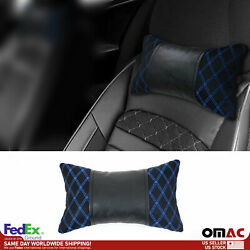 1x Car Seat Neck Pillow Head Shoulder Rest Pad Fabric Black With Blue Stitches