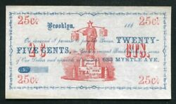 """1860's 25 Cents John Ward """"young Hyson Tea"""" Brooklyn, Ny Obsolete About Unc"""