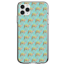 Clear Case For Iphone Pick Model Preppy Camels On Teal Background