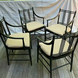 4 Hollywood Regency Black Lacquer Wood And Rattan Asian Oriental Arm Chair