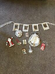 Christmas Lot Victorian Holiday Decorations . 10 Items.