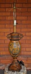 Vintage Hand Painted Brown, Light Green And Purple Chinese Style 2 Table Lamps