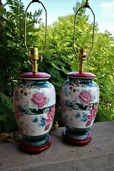 Vintage Hand Painted Green Pink Chinese Ceramic Table Lamps Floral Flowers Vase