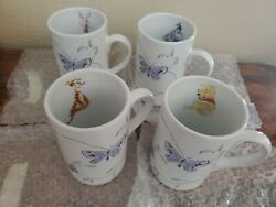 Disney Store Winnie The Pooh And Friends Spring Leaves Coffee Cup Mug - Set Of 4