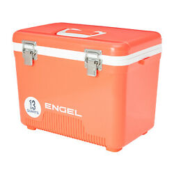 Engel 13 Quart 18 Can Leak Proof Insulated Cooler Drybox Coral Open Box $44.49