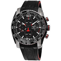 Tissot Black Stainless Steel Swiss Automatic Watch With Rubber Band Men's 1405