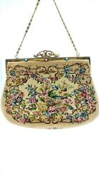Vintage FRANCE Floral Tapestry Handbag French Needlework Evening Bag Gold Chain $48.99