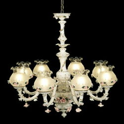 New Capodimonte Chandelier W/8 Lights And 8 Open Globes White/gold Made In Italy
