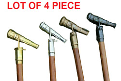 Lot Of 4 Pcs Wooden Walking Stick Cane With Spyglass Antique Telescope On Handle