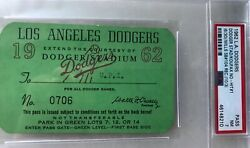 1962 Sandy Koufax First No-hit Gm Psa Ticket Pass 1962 At Los Angles Dodgers Mt