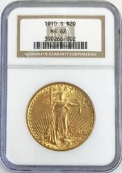 1910 S Gold 20 Saint Gaudens Double Eagle Coin Ngc Mint State 62