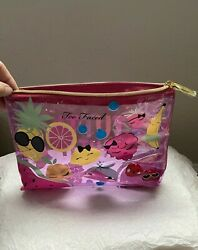 Too Faced Tutti Frutti Zip Top Clear Pink Cosmetic Vinyl Makeup Bag NEW $24.99
