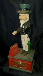 Vintage Cast Iron Mechanical Uncle Sam Coin Mechanical Bank Working Approx 1920s