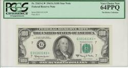 Fr.2163-g 1963a 100 Chicago Star Repeater 163163 Frn Pcgs 64ppq Choice New