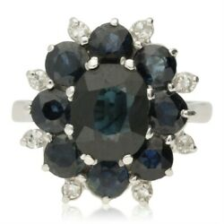 Vintage 18ct Gold Sapphire And Diamond 3 Tier Cluster Ring - 1975