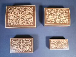 Group Of 4 Matching Rectangle Hinged Wood Nesting Jewelry / Trinket Boxes