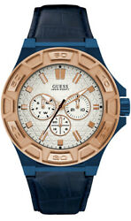 Watch Man Guess Watches Gents Force W0674g7 Leather Blue