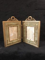 Antique Imperial French Gilt Bronze Double Folding Picture Frame-319e
