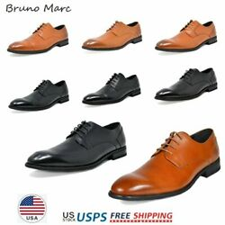 Bruno Marc Mens Oxford Shoes Genuine Leather Lace up Casual Shoes Dress Shoes