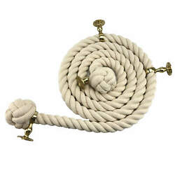 36mm White Synthetic Bannister Handrail Rope X 10ft C/w 4 Brass Fittings