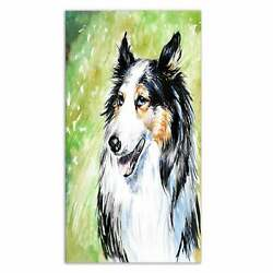 Designart #x27;Black Collie Dog Watercolor#x27; Animal Aluminium Extra Large