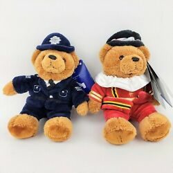 Two Harrods Exclusives Plush Teddy Bears Police Bobby / Beefeater 6 Tall