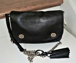 Nwt Coach Legacy Double Gusset Turnlock Flap Black Leather Chain Crossbody 25361