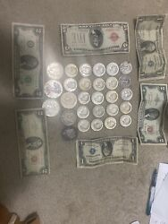 Lot Of Paper Money And Coins 1928 5 Dollars 2 1935 1 Bill 1 1953 2 Bill