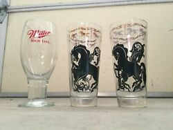 Set Of Five Glass Bowls And Glasses Horse Design Miller High Life Canadian Club