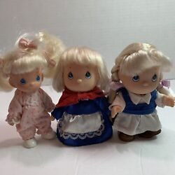 Precious Moments Little Dolls Three Blonde Costumes Sisters School Toddler Pjs