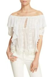 Free People #x27;Spirit in the Sky#x27; Off the Shoulder Ruffle Top Size S
