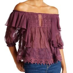 Free People #x27;Spirit in the Sky#x27; Off the Shoulder Ruffle Top Size M