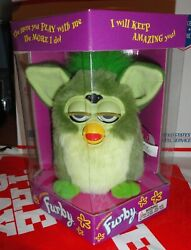 1998 Green Furby With Green Feet And Hair Tiger Electronics Mip Model 70-800