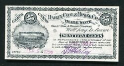1909 25 Cents Hailey Coal And Mining Co Trade Note Haileyvilleok Indian Territory
