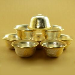 Gold And Silver Plated Tibetan Buddhist 3.5 Finely Carved Offering Bowls Set