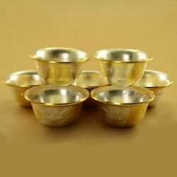 Finely Carved Gold And Silver Plated Tibetan Buddhist 3.5 Offering Bowls Set