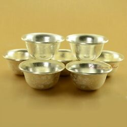 Finely Carved Silver Plated Tibetan Buddhist 3.5 Offering Bowls Set Patan Nepal