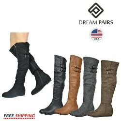 DREAM PAIRS Women#x27;s Fashion Over The Knee Boots Suede Pull On Slouchy Boots $23.39