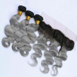 12a Brazilian Human Hair Weft 3/4bundles+lace Frontal 13x4 1b/grey Root Ombre