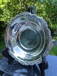 7.5 X 1.5 Silverplate Bowl W/acanthus Swag And Shells And Flowers Rim - Unbranded