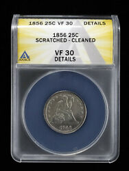 1856 25c Seated Liberty Quarter Anacs Vf 30 Details