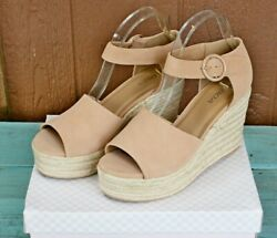 Soda Fabia Platform Wedge Sandals Size 7.5 Nude Pink Espadrille Woven Tall Sassy