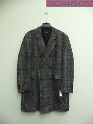 Hugo Boss Darvin Slim Fit Double Breasted Overcoat Menand039s Size 42r Black/gray