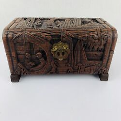 Antique Wooden Hand Carved Yu Ting Good Luck Chest Hong Kong Ornate Wood China