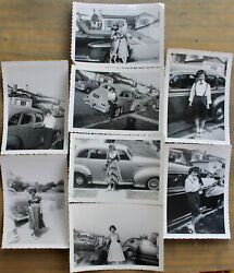 Vintage 1950s Cute Pretty Girl Woman W/ Cars 8 Old Snapshot Photos Photographs