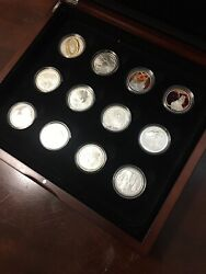 2003 Lord Of The Rings 12 Silver Proof Coins Set Very Rare And Hard To Find
