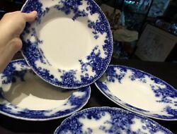 Four 4 Flow Blue Transferware 10 1/2 Dinner Plates China Dishes Vintage
