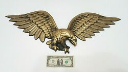 Flying American Eagle Over Door Hanger 29 Inches Wide - Brass Color - Large Usa